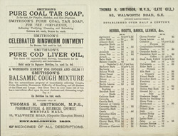 Advert for Thomas H Smithson, chemists, reverse side